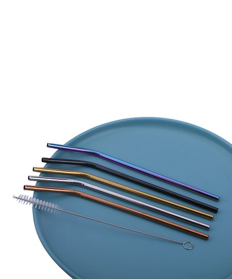 Kate Rui Stainless Steel Bent Straw Set