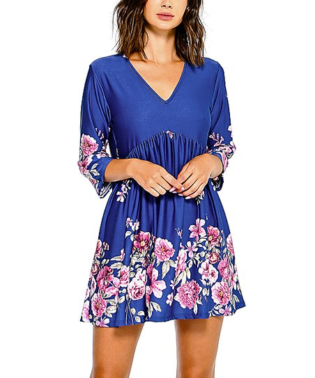 4102bcd403d5 love this product Navy Floral V-Neck Empire-Waist Dress - Women   Plus