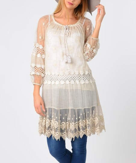 00a3d86632e LAKLOOK Beige Sheer Floral Lace Tunic - Women | Zulily