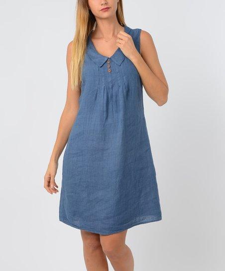 a03b4e9e459 LAKLOOK Blue Linen Sleeveless Tunic Dress - Women