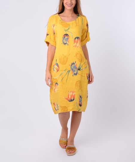 922053e7105 love this product Yellow Floral Linen Shift Dress - Women