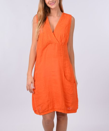 Laklook Orange Linen Surplice Shift Dress Women Zulily