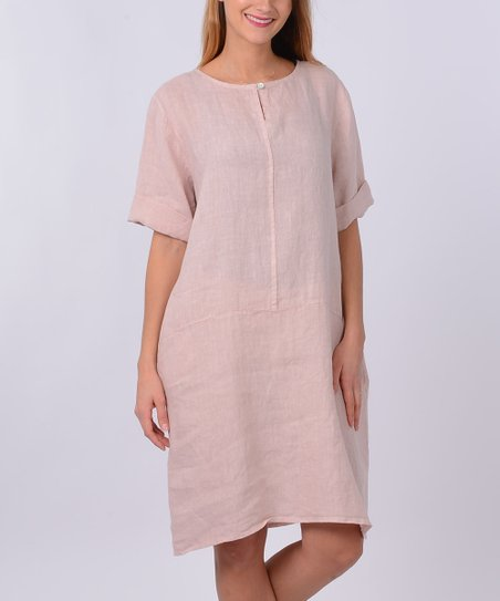 b282ff5fc80 love this product Pink Keyhole Linen Shift Dress - Women