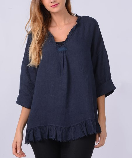love this product Navy Ruffle-Accent Linen V-Neck Top - Women 130ddca1e