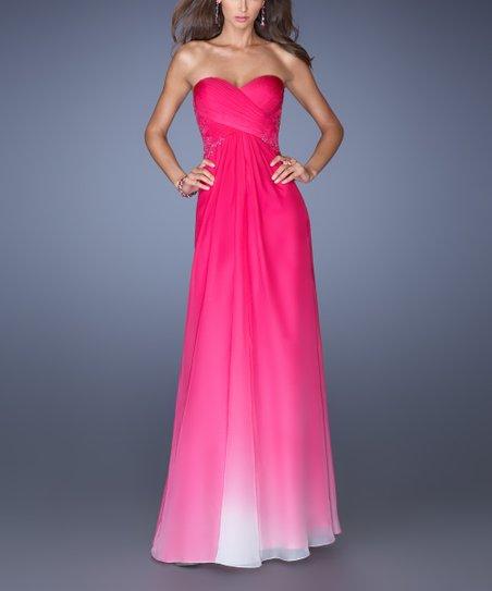 e8fa7bc378a La Femme Fashion Fuchsia Ombré Chiffon Ruched-Bodice Gown - Women ...