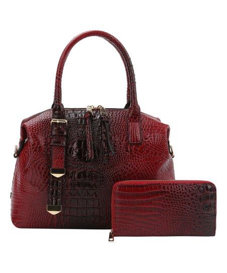 7eff54a45db6 Handbag Republic Red Croc-Embossed Satchel   Wallet