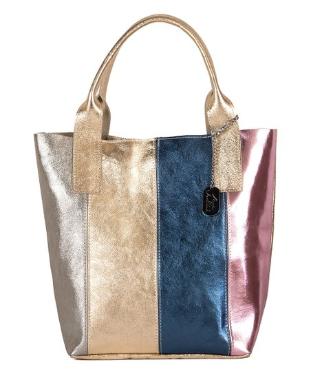 17d66e6ed52821 love this product Gold   Silver Metallic Patchwork Leather Tote