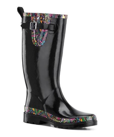 560125865 Sakroots Black Rhythm Rain Boot - Women | Zulily