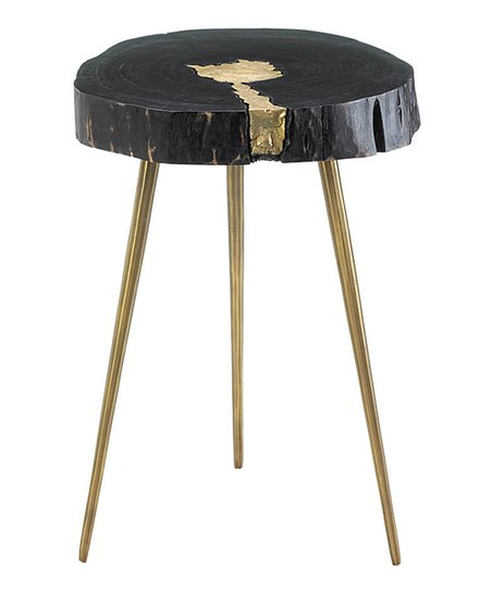 Nikki Chu Black U0026 Gold Aurora Edge Tree Stump Side Table