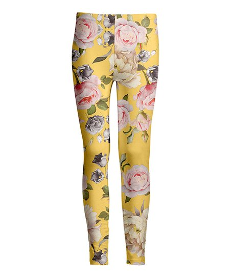 8ace44add5ebfb love this product Yellow & Pink Rose Leggings