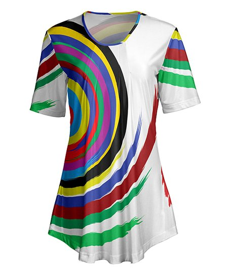 a1e789cdffd love this product White Geometric Short-Sleeve Tunic - Women & Plus
