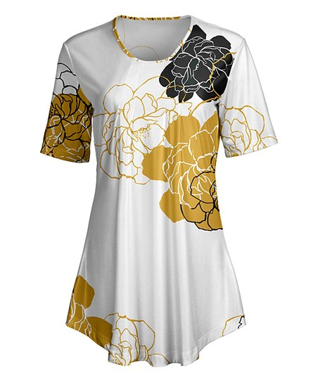 800b3c968ec love this product White & Gold Floral Short-Sleeve Tunic - Women & Plus