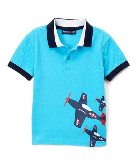 Sophie Sam Turquoise Airplane Applique Polo Toddler Boys Zulily