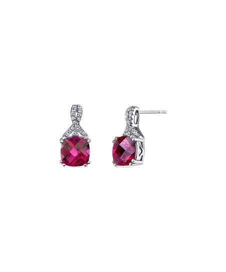 76a131f5d Lab-Created Ruby & Silvertone Stud Earrings With Swarovski® Crystals
