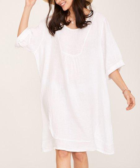 6ef55c6b088 love this product White Linen Shift Dress - Women   Plus