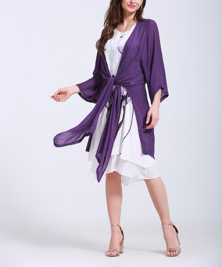 241c0e86d36b love this product Purple   White Floral Midi Dress   Purple Cardigan -  Women   Plus
