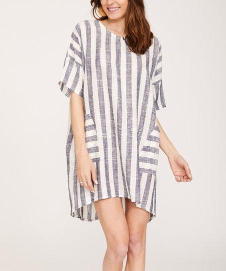 c704bf3643c0 Ornella Paris Blue & White Stripe Pocket Linen-Blend Shift Dress ...
