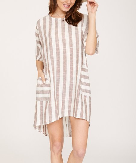 339c8739c2da love this product Taupe & White Stripe Pocket Linen-Blend Shift Dress - Plus