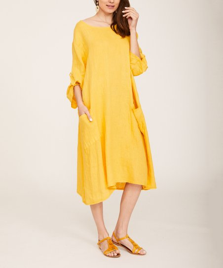 d00ac4e279f4 love this product Mustard Pocket Rolled-Sleeve Linen Shift Dress - Women &  Plus