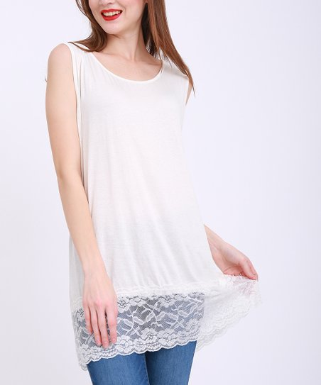 64ff6c46a53637 Simply Couture White Lace-Accent Sleeveless Tunic - Women   Plus ...