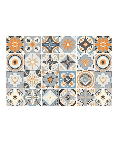 Ambiance 468 Orange Light Blue Azulejos Grazelano 24 Tile