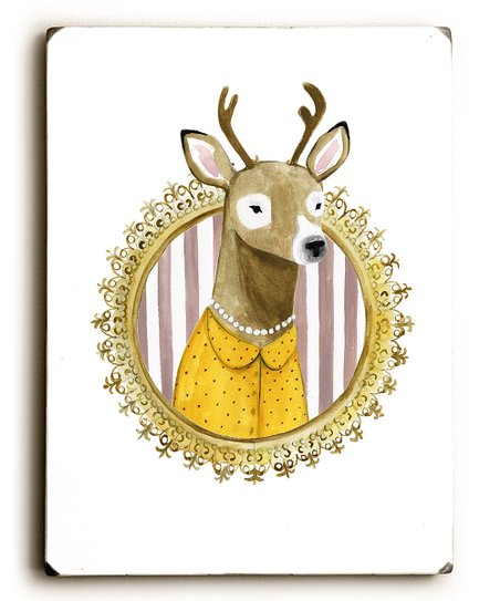 Artehouse Victoria Borges Spiffy Animals I Deer Wood Wall Art