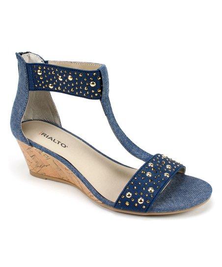 86b38c83358 RIALTO Dark Blue Fabric Cleo Wedge Sandal - Women