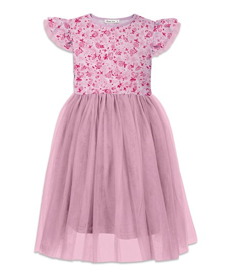 edf299c505 Orchid Lane Pink Floral Angel-Sleeve Dress - Girls | Zulily