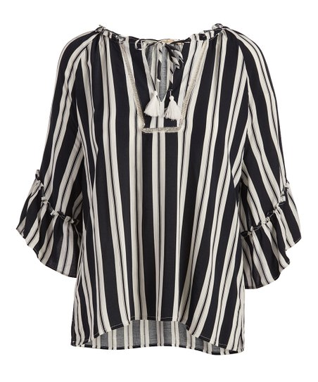 d367de31cf love this product Navy & White Stripe Ruffle-Sleeve Top - Women