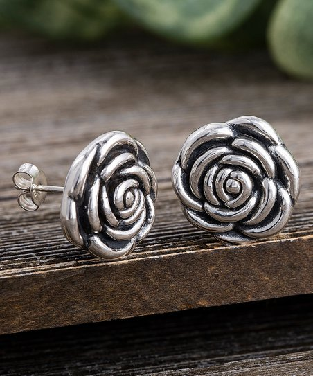 77e66515e Willowbird Sterling Silver Oxidized Rose Stud Earrings | Zulily