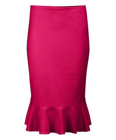 2e8d5a8ff love this product Fuchsia Ruffle-Hem Pencil Skirt - Women & Plus