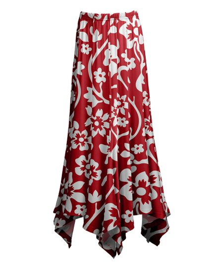 3d3e5293ec love this product Red & White Floral Handkerchief Maxi Skirt - Women