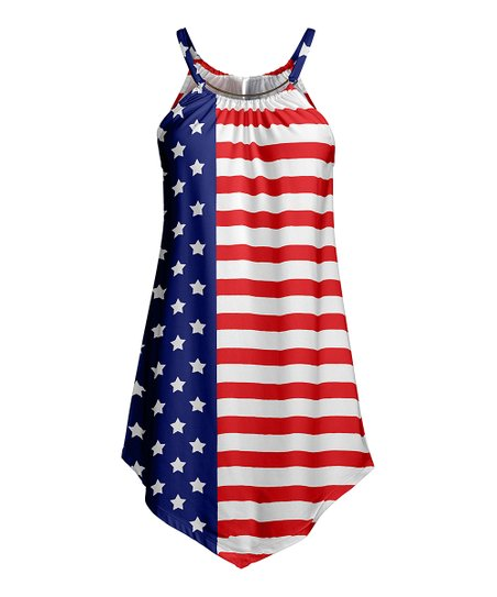 37d5bdd3fe2 love this product Navy & Red Stars & Stripes Handkerchief-Hem Yoke Tunic -  Women & Plus