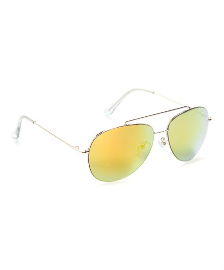 d03dd31e139d love this product Goldtone   Orange Mirror Aviator Sunglasses