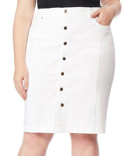 74c100322a Rebel Wilson x Angels White Button-Up Denim Pencil Skirt - Plus | Zulily