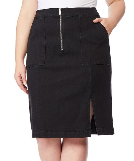 c32efd2849 Rebel Wilson x Angels Summit Zip-Front Denim Pencil Skirt - Plus ...