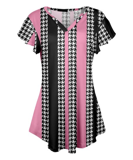 50d7d2936b8 love this product Pink & Black Houndstooth Stripe Flutter-Sleeve V-Neck  Tunic - Women & Plus
