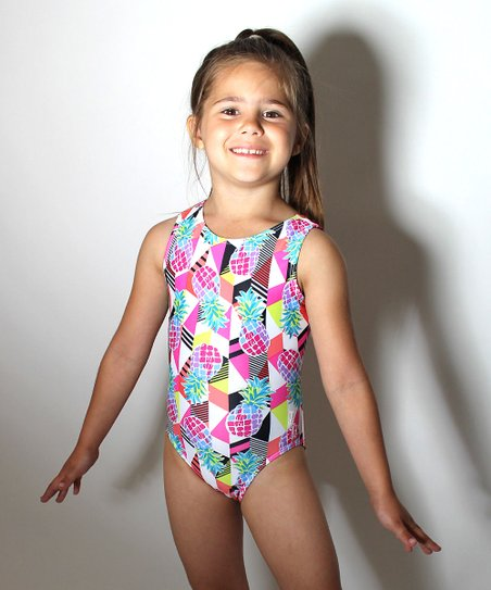 865bf12e3686 D&M Leotards Pink & Blue Abstract Pineapples Leotard | Zulily