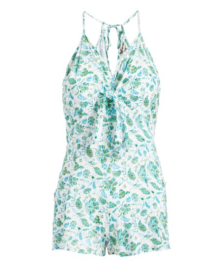 faf4665ba1a love this product White   Green Floral Knot-Accent Romper - Women   Plus