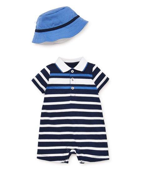 237d62de2974e love this product Navy   White Stripe Polo Romper   Blue Bucket Hat - Infant