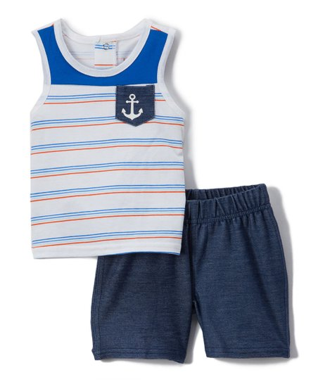 b79aa9d932cc love this product Blue & White Anchor Stripe Tank & Shorts - Newborn &  Infant