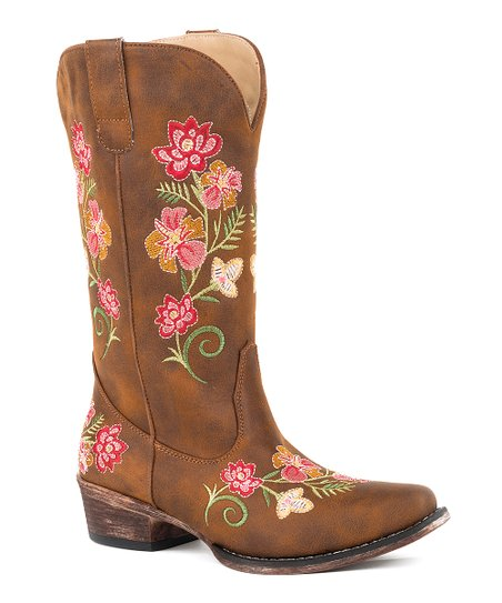 Roper Cognac Floral Embroidered Cowboy Boot Women