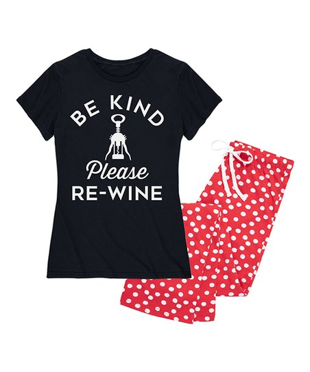 f9f584a1d074 love this product Black   Red Dot  Be Kind Please Re-Wine  Pajama Set -  Women
