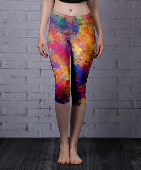1e7cc8fe648 Lily Orange & Purple Abstract Capri Leggings - Women