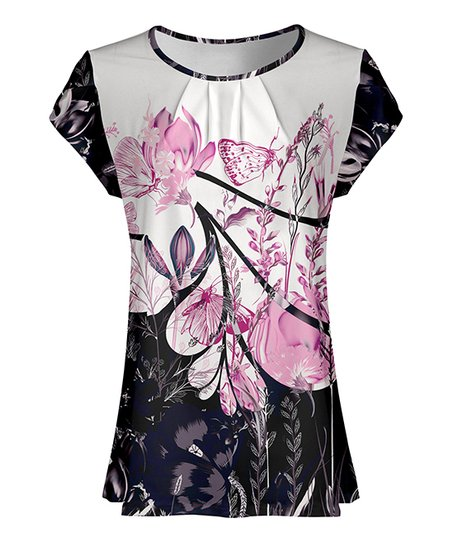 8b07699020e0c7 Black & Pink Floral Butterfly Pleated Short Sleeve Tunic - Women & Plus