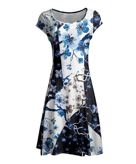 99f03dc87 love this product Black & Blue Color Block Floral Cap-Sleeve Dress - Women  & Plus