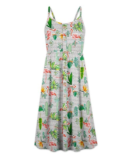 38a0b0eaf3 love this product White & Green Cactus Flamingo Button-Up Sleeveless Dress  - Women & Plus