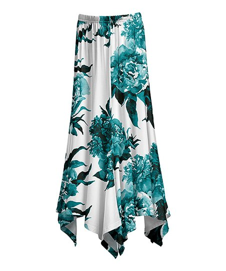 88fe5823f love this product White & Teal Floral Handkerchief Maxi Skirt - Women & Plus