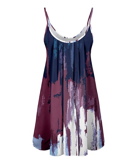 8c1fa0916c7c love this product Navy & Mauve Abstract Pleated Swing Tunic - Women & Plus