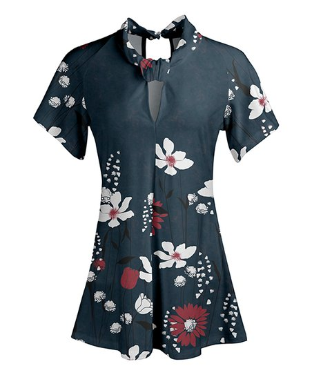 973659a4c37 love this product Navy & White Floral Short-Sleeve Cutout Tunic - Women &  Plus